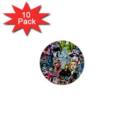 Vintage Horror Collage Pattern 1  Mini Buttons (10 Pack)