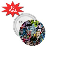 Vintage Horror Collage Pattern 1.75  Buttons (10 pack)
