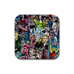 Vintage Horror Collage Pattern Rubber Square Coaster (4 pack)