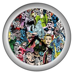 Vintage Horror Collage Pattern Wall Clocks (silver)