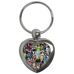 Vintage Horror Collage Pattern Key Chains (heart)