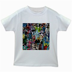 Vintage Horror Collage Pattern Kids White T Shirts