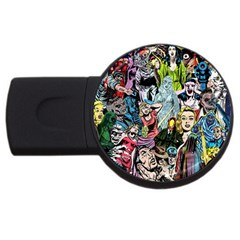 Vintage Horror Collage Pattern USB Flash Drive Round (2 GB)