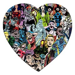 Vintage Horror Collage Pattern Jigsaw Puzzle (Heart)