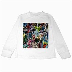 Vintage Horror Collage Pattern Kids Long Sleeve T-Shirts