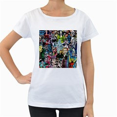 Vintage Horror Collage Pattern Women s Loose Fit T Shirt (white)