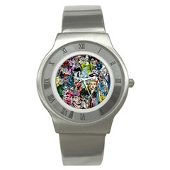 Vintage Horror Collage Pattern Stainless Steel Watch