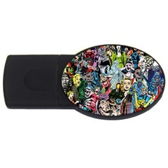 Vintage Horror Collage Pattern Usb Flash Drive Oval (4 Gb)