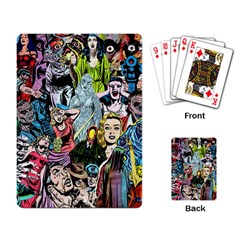 Vintage Horror Collage Pattern Playing Card