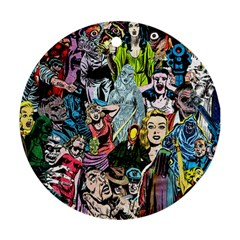 Vintage Horror Collage Pattern Round Ornament (Two Sides)