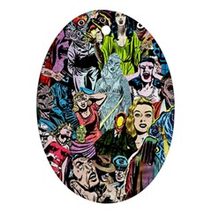 Vintage Horror Collage Pattern Oval Ornament (two Sides)