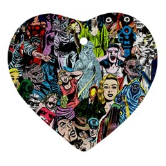 Vintage Horror Collage Pattern Heart Ornament (two Sides)