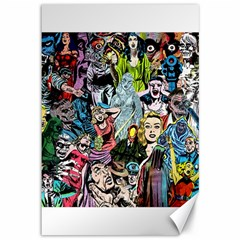 Vintage Horror Collage Pattern Canvas 12  x 18
