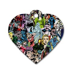 Vintage Horror Collage Pattern Dog Tag Heart (Two Sides)
