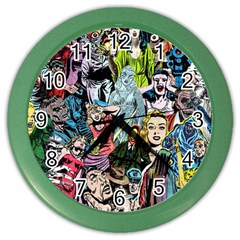 Vintage Horror Collage Pattern Color Wall Clocks
