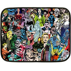 Vintage Horror Collage Pattern Double Sided Fleece Blanket (Mini)