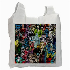 Vintage Horror Collage Pattern Recycle Bag (One Side)