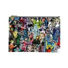 Vintage Horror Collage Pattern Cosmetic Bag (large)