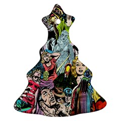 Vintage Horror Collage Pattern Ornament (christmas Tree)
