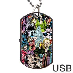 Vintage Horror Collage Pattern Dog Tag USB Flash (Two Sides)