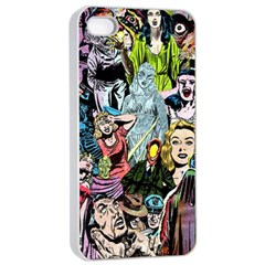 Vintage Horror Collage Pattern Apple Iphone 4/4s Seamless Case (white)