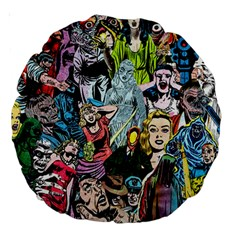 Vintage Horror Collage Pattern Large 18  Premium Round Cushions