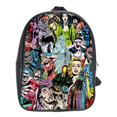 Vintage Horror Collage Pattern School Bags (xl)