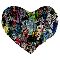 Vintage Horror Collage Pattern Large 19  Premium Heart Shape Cushions