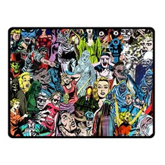 Vintage Horror Collage Pattern Double Sided Fleece Blanket (Small)