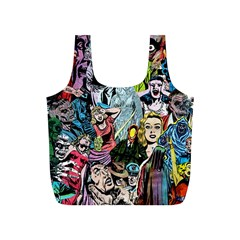 Vintage Horror Collage Pattern Full Print Recycle Bags (S)