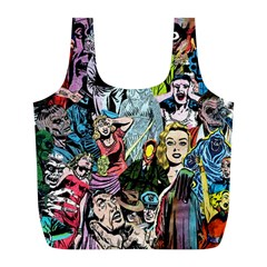 Vintage Horror Collage Pattern Full Print Recycle Bags (L)