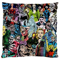 Vintage Horror Collage Pattern Large Flano Cushion Case (one Side)