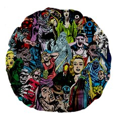Vintage Horror Collage Pattern Large 18  Premium Flano Round Cushions