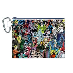 Vintage Horror Collage Pattern Canvas Cosmetic Bag (l)
