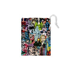 Vintage Horror Collage Pattern Drawstring Pouches (xs)
