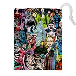 Vintage Horror Collage Pattern Drawstring Pouches (XXL) Front