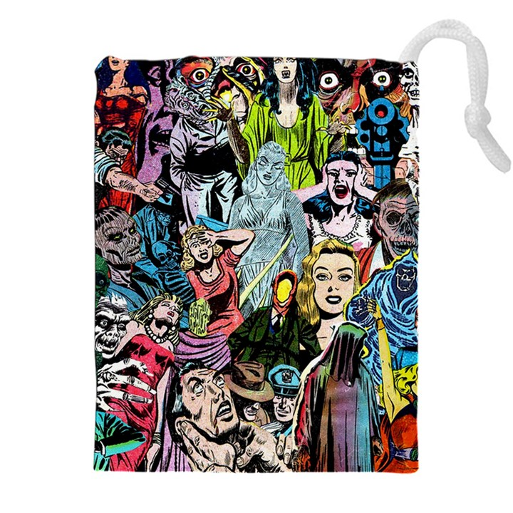 Vintage Horror Collage Pattern Drawstring Pouches (XXL)