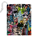 Vintage Horror Collage Pattern Drawstring Pouches (XXL) Back