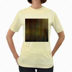 Background Colors Of Green And Gold In A Wave Form Women s Yellow T-Shirt