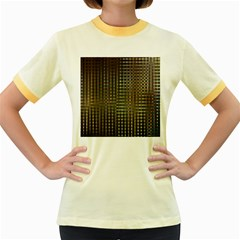 Background Colors Of Green And Gold In A Wave Form Women s Fitted Ringer T Shirts