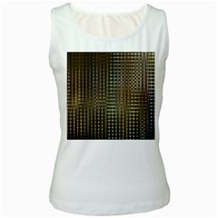Background Colors Of Green And Gold In A Wave Form Women s White Tank Top