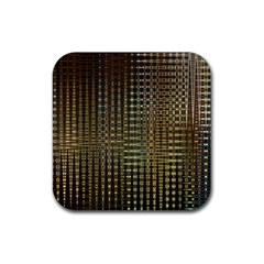 Background Colors Of Green And Gold In A Wave Form Rubber Square Coaster (4 pack)