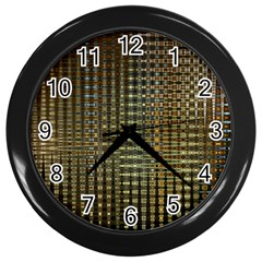 Background Colors Of Green And Gold In A Wave Form Wall Clocks (black)