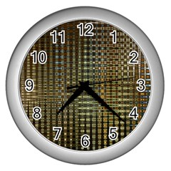 Background Colors Of Green And Gold In A Wave Form Wall Clocks (silver)