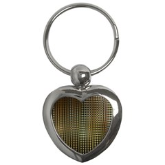 Background Colors Of Green And Gold In A Wave Form Key Chains (heart)
