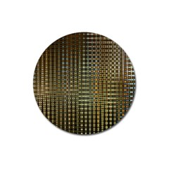 Background Colors Of Green And Gold In A Wave Form Magnet 3  (Round)
