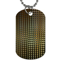 Background Colors Of Green And Gold In A Wave Form Dog Tag (one Side)