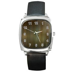 Background Colors Of Green And Gold In A Wave Form Square Metal Watch