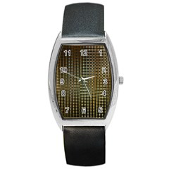 Background Colors Of Green And Gold In A Wave Form Barrel Style Metal Watch