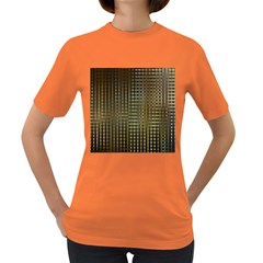 Background Colors Of Green And Gold In A Wave Form Women s Dark T-Shirt